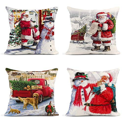 Britimes Throw Pillow Covers Christmas Home Decor Set of 4 Pillow Cases Winter Decorative 18 x 18 Inches Outdoor Cushion Couch Sofa Pillowcases Xmas Santa Claus