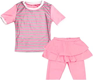 Muslim Swimwear for Girls Two-Piece Children Burkini Swimsuits Half-sleeve Stripe Pattern Quick Dry Swim Suit for Kids