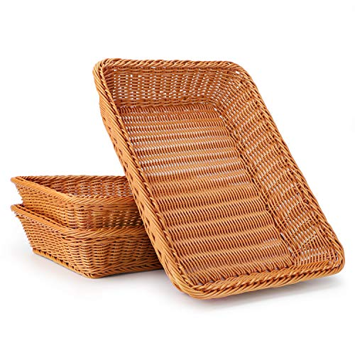 Wicker Bread Basket, Eusoar 3 Pack 15.8'x 11.8'x 3.0' Tabletop Food Serving Baskets Trays, Bread Proofing Basket, Food Fruit Vegetables Sundries Storage Basket for Restaurant Bakery Family Party