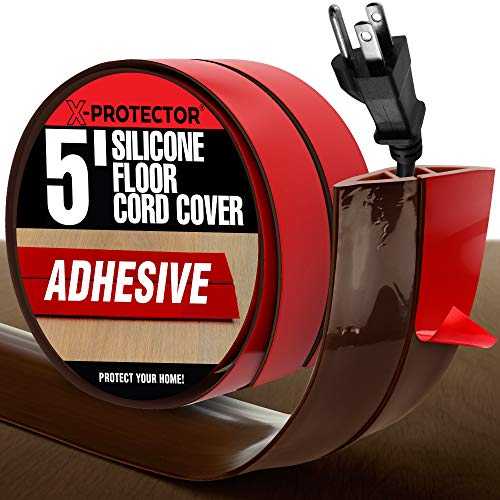 Floor Cord Cover X-Protector – 5' Silicone Brown Cord Protector – Self-Adhesive Power Cable Protector – Overfloor Cable Cover – Ideal Extension Cord Cover to Protect Wires On Floor (60 in)