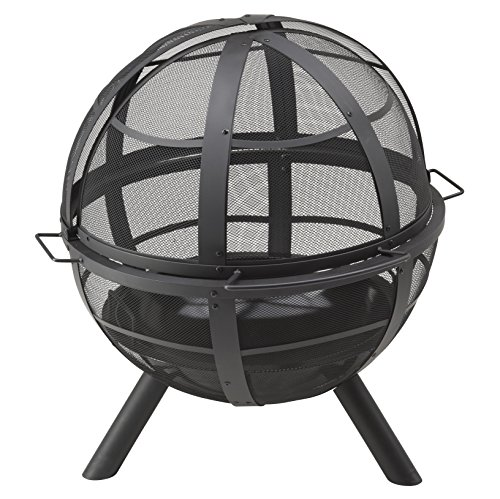 Landmann Feuerkorb \'Ball of Fire\'   Massive Stahlkonstruktion, umlaufendes Meshgitter schützt vor Funkenflug   Emaillierte Feuerschüssel, inkl. Wetterschutzhaube [90 x 86 x 80 cm]
