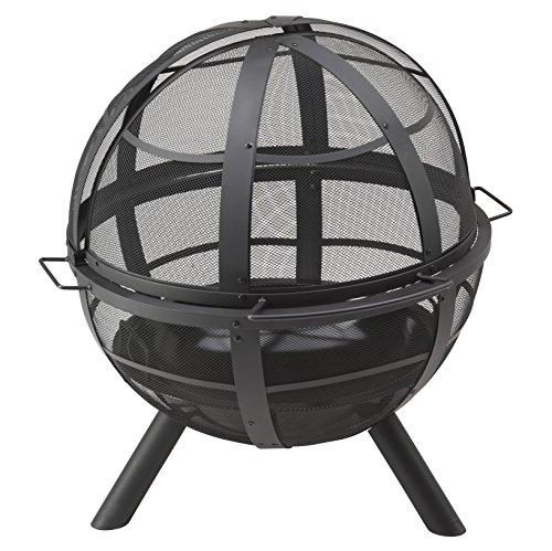 Landmann Feuerkorb 'Ball of Fire' | Massive Stahlkonstruktion, umlaufendes Meshgitter schützt vor Funkenflug | Emaillierte Feuerschüssel, inkl. Wetterschutzhaube [90 x 86 x 80 cm]
