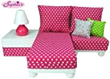 Sophia's 18 Inch Doll Furniture Play Set: White Chaise, Chair, Ottoman, Lamp, Hot Pink/White Polka Dot Cushions, 2 Pillows. Perfect for 18' American Girl Dolls & More! 18' Doll House Furniture
