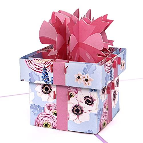 MOKIO® Pop-Up Karte [NEU!] – Geschenk mit Schleife – 3D Geschenkkarte zum Geburtstag, als Gutschein oder Verpackung für ein Geldgeschenk, Klappkarte zur Hochzeit