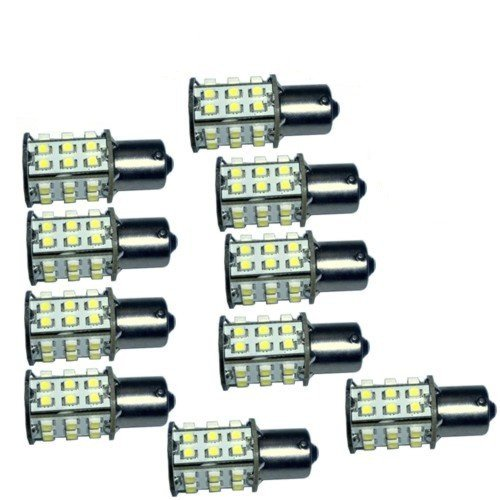 HQRP 10 pack BA15s Bayonet Base 30 LEDs SMD LED Cool Bulb White for #93 1141 1156 1073 1093 1129 Replacement plus HQRP Coaster :