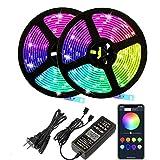 Bluetooth Tiras LED Musical 2835 RGB, Tiras de Luces con 12V 300 LEDS, Función...
