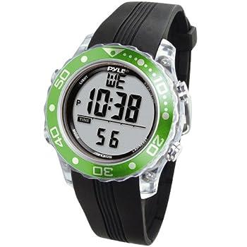 Digital Multifunction Sports Wrist Watch - Waterproof Smart Fit Classic Men Women Water Sport Swimming Fitness Gear Tracker w/ Chronograph Countdown Dual Time Diving Mode - Pyle PSNKW30GN  Green   4.5 x 4.5 x 4.5