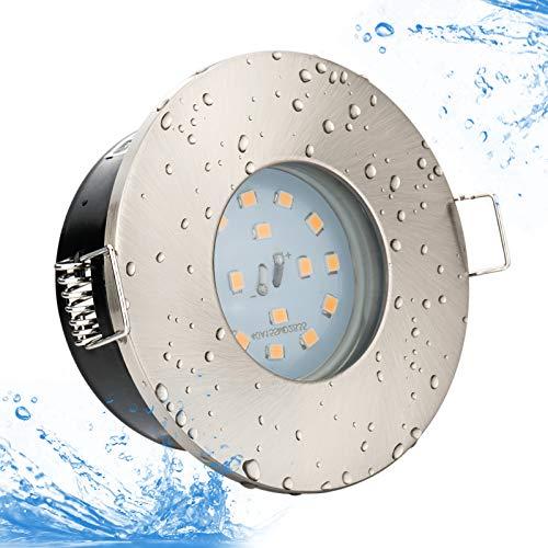 KW Set Bad Einbaustrahler IP65 Farbe: Edelstahl gebürstet 5Watt LED - 450Lumen KALTWEISS (6000Kelvin) 230Volt GU10 Fassung inklusive, Für Badezimmer, Dusche, Nassraum, Vordach uvm.
