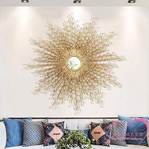 PIVFEDQX Espejo de Pared de Metal de Lujo, decoración de Pared con Rayos de Sol Grande, Espejo de Hierro Forjado Artesanal, Funciona 60 CM