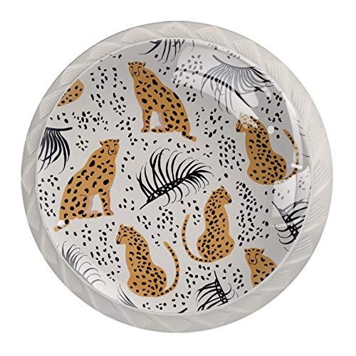 Cheetah with Palm Leaves Glass Cabinet Knobs 4 Pcs 30mm Drawer Handles for Kitchen Cabinets Dresser Cupboard Wardrobe,White