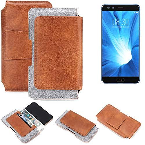 K-S-Trade® Schutz Hülle Für Nubia Z17 Mini S Gürteltasche Gürtel Tasche Schutzhülle Handy Smartphone Tasche Handyhülle PU + Filz, Braun (1x)