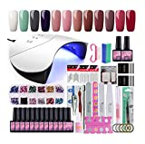 *Coscelia Kit d'Esmalts d'Ungles *12pcs Esmalts *Semipermanentes d'Ungles en Gel *Soak *off *8ml 36W UV/LED Assecador d'Ungles *Nail *Dryer Capa Base Capa Superior Manicura Kit