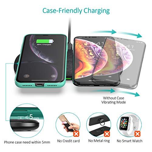 CHOETECH Doppio Caricatore Wireless 5 Bobine Fast Wireless Charger 7.5W per iPhone XS/XS Max/XR/X/ 8/8 Plus, 10W Ricarica Wireless Veloce per Galaxy S10/ S9/ S9 +/ S8/ S8 +/ Nota 8 e Nuove Airpods