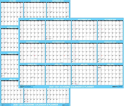 24x36 SwiftGlimpse 2020-2021 Academic Wall Calendar Erasable Large Jumbo Oversized Wet & Dry Erase Laminated 12 Month Planner, 2 Sided Vertical/Horizontal Reversible, June to July - Classic Blue