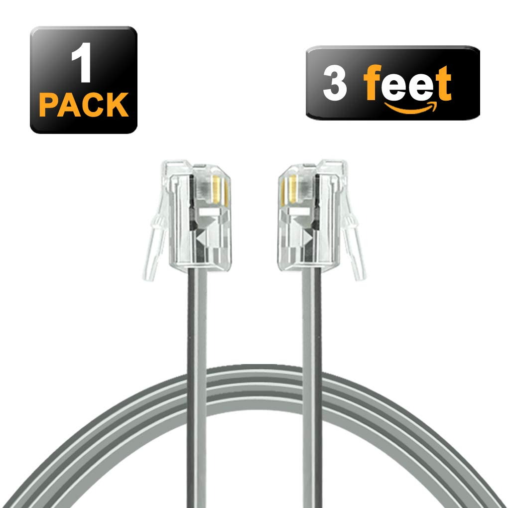 NECABLES 3 Inch Telephone Cord Short RJ11 Cable 6P4C Male to Male for Landline Phone