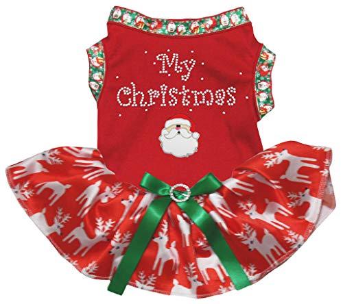 Petitebelle Mijn Kerstman Rood Katoen Shirt Tutu Puppy Hond Jurk, Large, Red Reindeers Tutu