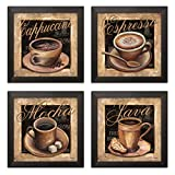 Lovely, Vintage Espresso, Cafe Latte, Cafe Mocha, Cappuccino Coffee Cup Signs; Kitchen Decor; Four 12 by 12-Inch Black Framed Prints; Ready to Hang!