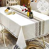 SUNBEAUTY Tischdecke Rechteckig Abwaschbar Baumwolle Leinen Tischtuch Elegant Tischwäsche wasserdichte Tischdecke 140x220 cm für Home Küche Speisetisch Dekoration - 2