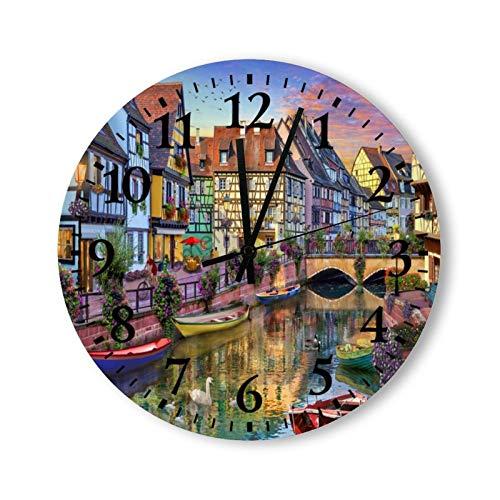 Reloj de pared redondo de madera con números arábigos, estilo rústico, elegante, de madera, redondo, para decoración del hogar, (38 x 38 cm, Canal Colmar)