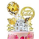 iZoeL Or gâteau Anniversaire décoration Cake Topper, Or château Joyeux Anniversaire bannière confettis Ballon feu Artifice Star Or thème fête décor Mariage Fille garçon Femmes Homme