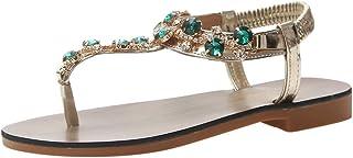wileqep 夏 サンダル レディース 歩きやすい ローヒール 大きいサイズ ビーチサンダル フラワー 女性用シューズ ボヘミアン風 かわいい 花柄 ペタンコ ビーチ アンクルストラップ 編込み ビジュー ラインストーン アンクル 靴 可愛い フラット