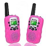 Nestling Walkie Talkie Niños Pantalla LCD de 8 Canales Linterna incorporada VOX 10 Tonos de Llamada Walkie Talkie Niñas Regalo de Juguete para niños (2pcs Rosa)