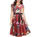 EMPERSTAR Vestido De Fiesta De Verano para Mujer con Cuello Redondo Y Manga Casquillo Floral Rojo S