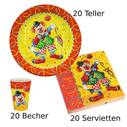 Konzept23, 60-teiliges Partyset Clown, 20 Pappteller, 20 Pappbecher, 20 Servietten