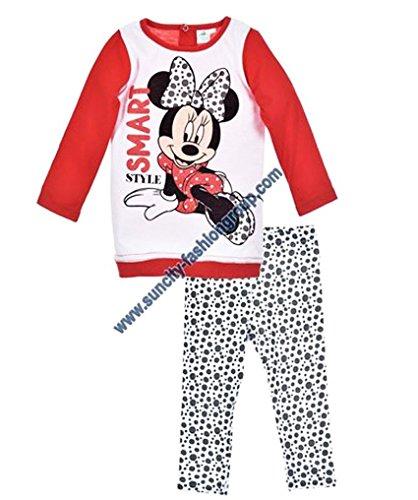 Legging et T-shirt manches longues bébé fille Minnie Rose et Rouge de 6 à 23mois (23 mois, Blanc/rouge)