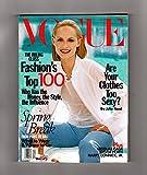 Vogue Magazine - April, 1998. Amber Valletta Cover. Nicolas Cage;Sylvia Plath;Harry Connick, Jr.;James Gallanos;Lady Lanvin;Angela Lindvall;Renee Zellweger;David Mamet