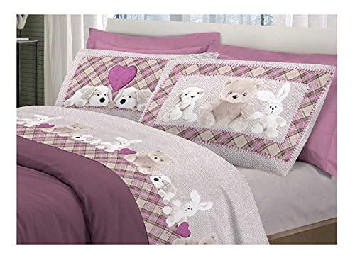 Juego completo de sábanas de franela rosa, varios tamaños de animales (1 plaza y media, 180 x 300 cm)