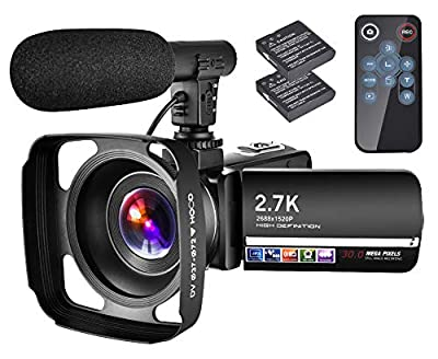 "Video Camera Camcorder with Microphone YouTube Camera Recorder 2.7K Ultra HD 20FPS 30.0MP 18X Digital Zoom 3.0"" LCD Touch Screen Vlogging Camera by LINNSE"