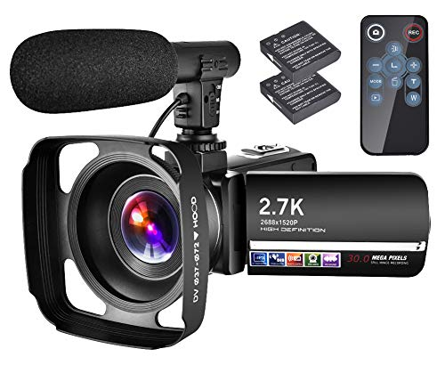 "Video Camera Camcorder with Microphone YouTube Camera Recorder 2.7K Ultra HD 20FPS 30.0MP 18X Digital Zoom 3.0"" LCD Touch Screen Vlogging Camera"