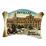 Sevilla España Europa Ciudad Mundial Resina 3D Fuerte Imán para nevera recuerdo turístico Regalo chino Imán hecho a mano Artesanía Creativa Casa y Cocina Decoración magnética (Style2)