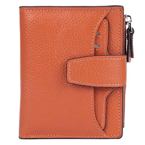 AINIMOER Women's RFID Blocking Leather Small Compact Bi-fold Zipper Pocket Wallet Card Case Purse(Lichee Sorrel)