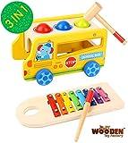 The Wooden Toy Factory - 3 in 1 Xylophon und Hammerspiel, Klopfbank und Bus mit 4 Räder aus Holz,...