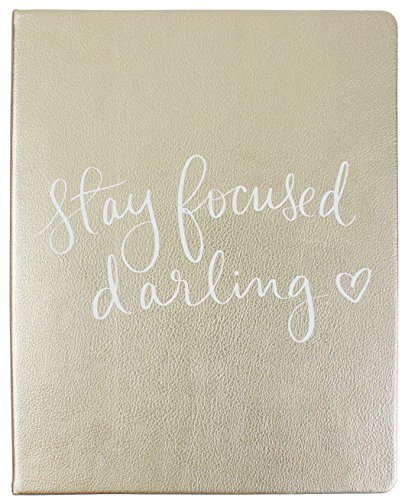 Eccolo Dayna Lee Collection Hardcover Desk-Size Notebook, Acid-Free Lined Pages (Gold - Stay Focused Darling)