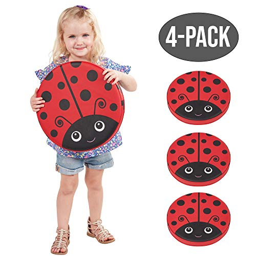 ECR4Kids SoftZone Ladybug Seating Cushions, 13.5 inch Diameter, Alternative Flexible Seating, Floor Cushions for Kids, 4-Pack