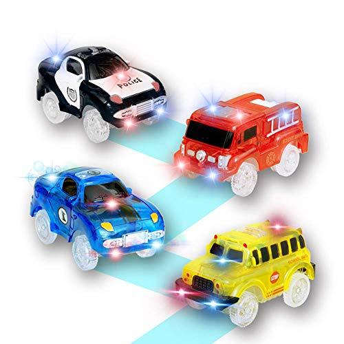 Pista Luminosa Macchinine Giocattolo,Auto da Corsa Auto della Polizia Camion dei Pompieri e Scuolabus Compatibile con la Maggior Parte delle Tracce,Auto Giocattolo per Bambini (Pacchetto di 4)