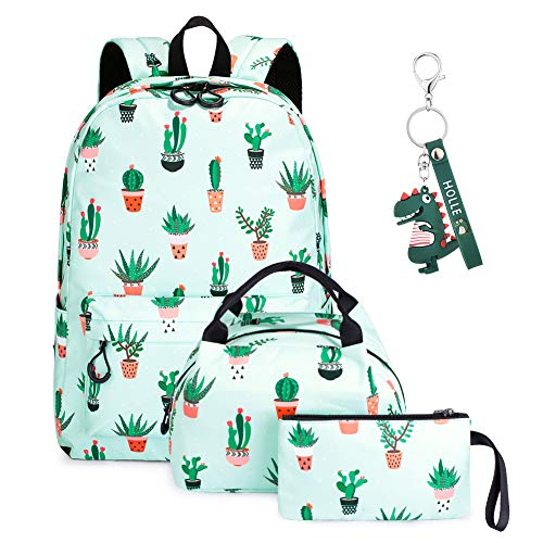 Backpacks Girls School Bags,SUVOM Teenage School Laptop Rucksack with Lunch Box and Pencil Case,Ultra Lightweight Water Resistant 3 Sets Teenage Bookbag (Cactus)