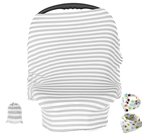 Baby Car Seat Cover ,Nursing Cover,Car seat Canopy Covers Multi-Use Infant Car seat Canopy Covers Shopping Cart High Chair Stroller- Best Multi-Use Infinity Stretchy Shawl (Gray/White Pinstripe)