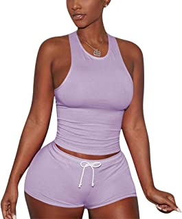 Women Two Piece Outfits Tracksuit - Casual Short Sleeve Shirt Top Bodycon Shorts Set Jogger Sportswear