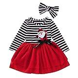 Vestidos de fiesta para niños, niñas pequeñas, bebés, vestido de tul con estampado de rayas navideñas de Navidad + conjuntos de diadema, rojo 3-4 años, vestido de princesa para niñas