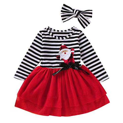 Walabe Robe Fille Mode Vetement Bebe Fille Hiver Robe | Bebe First Merry Christmas 1-5 Ans | Robe De NoëL en Tulle à Rayures + Bandeau Tenues