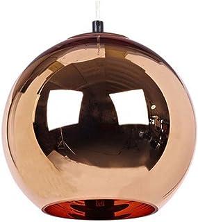 Modeen Cabeza única creativa Cromo Rojo Cobre Espejo Bola Lámpara Colgante Globo Colgante Luz Lámpara Grano Almacén Metall Lampara De Techo Plafón Redondo (Size : Diameter 30cm)