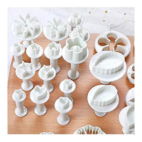 longyisound, set di 33 stampini per fondente, per il fai da te, per la modellazione, per biscotti, fiori, farfalle, stelle, a forma di cuore, foglie per torte