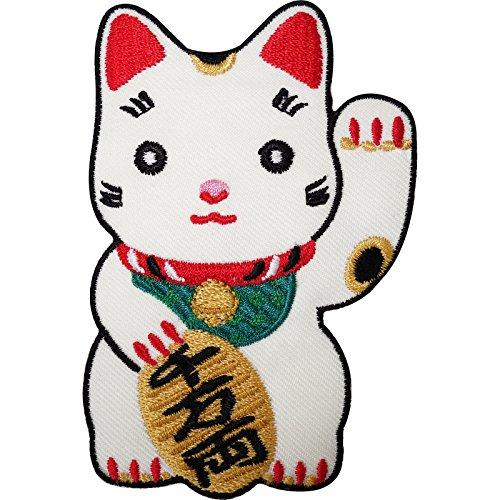 Japonés Lucky saludando gato blanco bordado hierro/sew on Patch T Shirt Badge