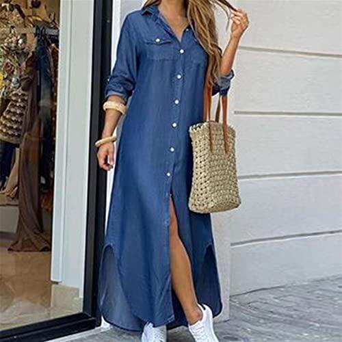 Vestido de camisa de manga larga para mujer Otoño Impreso Vestidos largos Cuello de rechazo suelto Sundress Vestidos de fiesta (Color : Denim blue, Size : L)