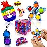 Yetech 4PCS Set De Juguetes Sensoriales,Juguetes Sensoriales Kit, con Juguete Pargo Arcoíris,mágico Spinning Juguetes sensorial,Infinity Cube,para aliviar el estrés y la ansiedad para niños y Adultos