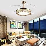 Beeki Ventilador de Techo para el hogar con luz Moderna Luz del Techo con Control Remoto Ventilador de Cristal dimmable de Tres Colores Araña Hoja retráctil Mute Mute Ventilador de Interior Luz de 42